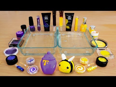 Purple Vs Yellow - Mixing Makeup Eyeshadow Into Slime! Special Series 109 Satisfying Slime Video