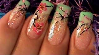 Cherry Blossom Sakura Tree Nail Art Design Tutorial