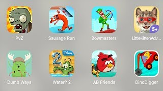 PvZ,Sausage Run,Bowmasters,Little Kitten Adventures,Dumb Ways,Water 2,AB Friends,Dino Digger