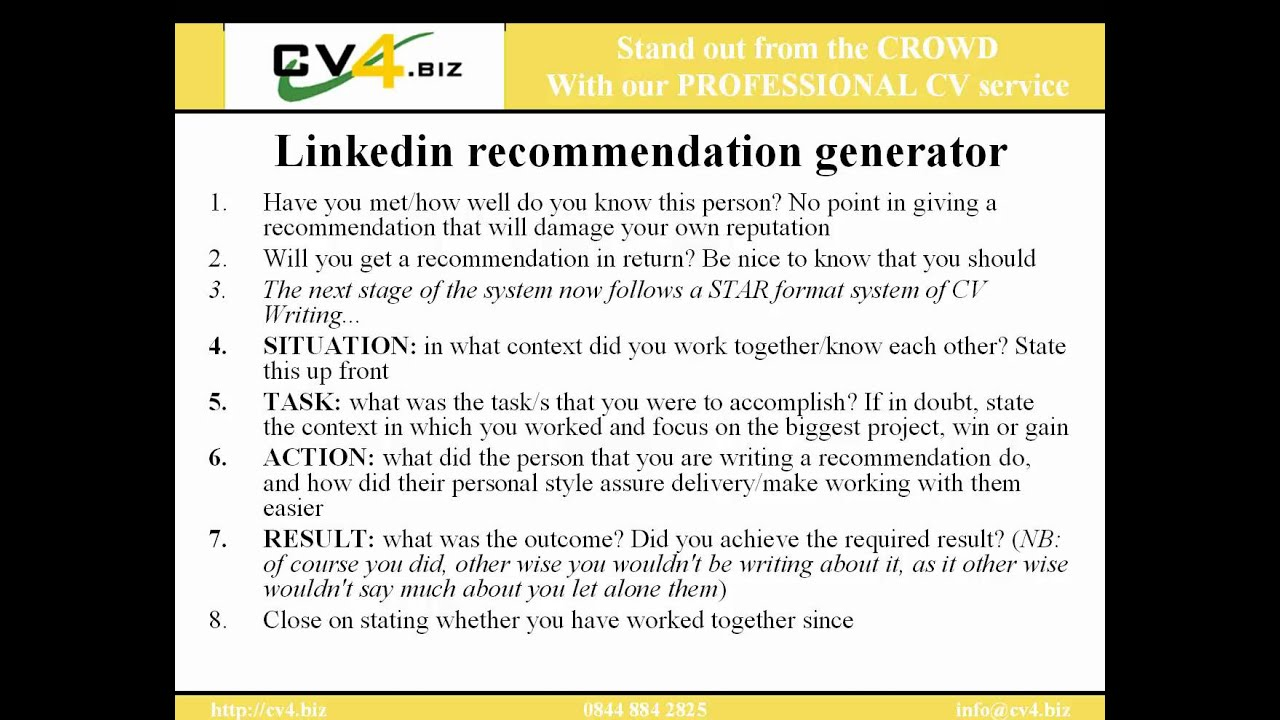 Linkedin Recommendation Examples Youtube