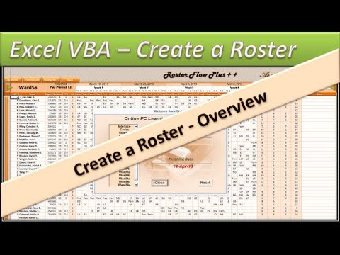 Excel VBA Roster - Create a Staff Roster - Roster Flow Plus ++