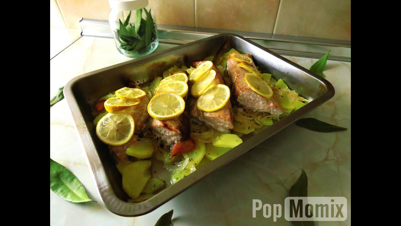 Lomos de bonito con patatas al horno f cil y r pido - Bacalao con garbanzos y patatas ...