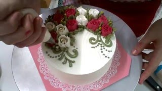ใช้หัวบีบจากฝาขวดแต่งเค้ก how to pipe buttercream roses using a handmade nozzle tutorial