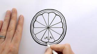 How to Draw a Cartoon Slice of Orange