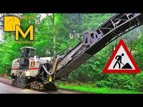 WIRTGEN ASPHALT MILLING MACHINE LOADING TRUCKS / MODERN ROAD CONSTRUCTION #1