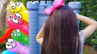 Öykü Wants play Hide and Seek with colorful ballons - Fun kids video