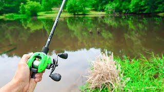 This TINY Pond is LOADED w/ Bass (Bank Fishing)