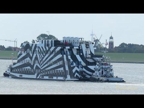 Schwimmendes Hotel SANS VITESSE auf Reisen mit Schleppern Floatel on tour 2 tugs assist Emden