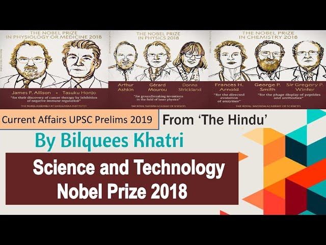 Current Affairs UPSC Prelims 2019 | Science and Technology Nobel Prize 2018 | by Mrs Bilquees Khatri