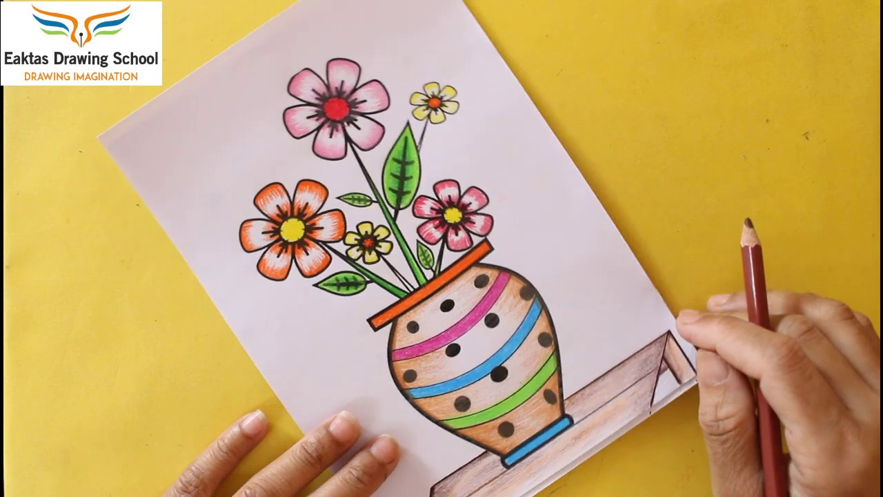 Flower Drawing In A Vase How To Draw A Beautiful Flower Pot Easy Plant Pot Drawing Session Youtube