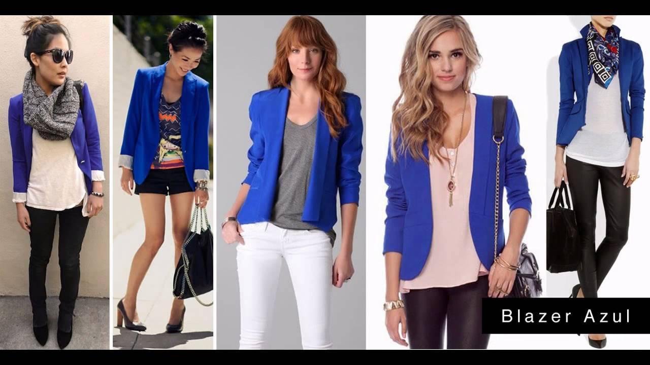 Combinar blazer azul oscuro mujer
