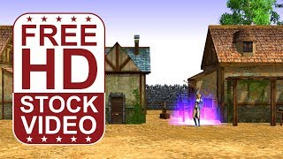 FREE HD video backgrounds – medieval fantasy village with characters seamless loop 3D animation