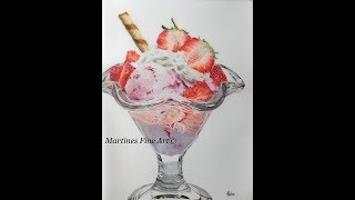 Drawing glass and strawberries!