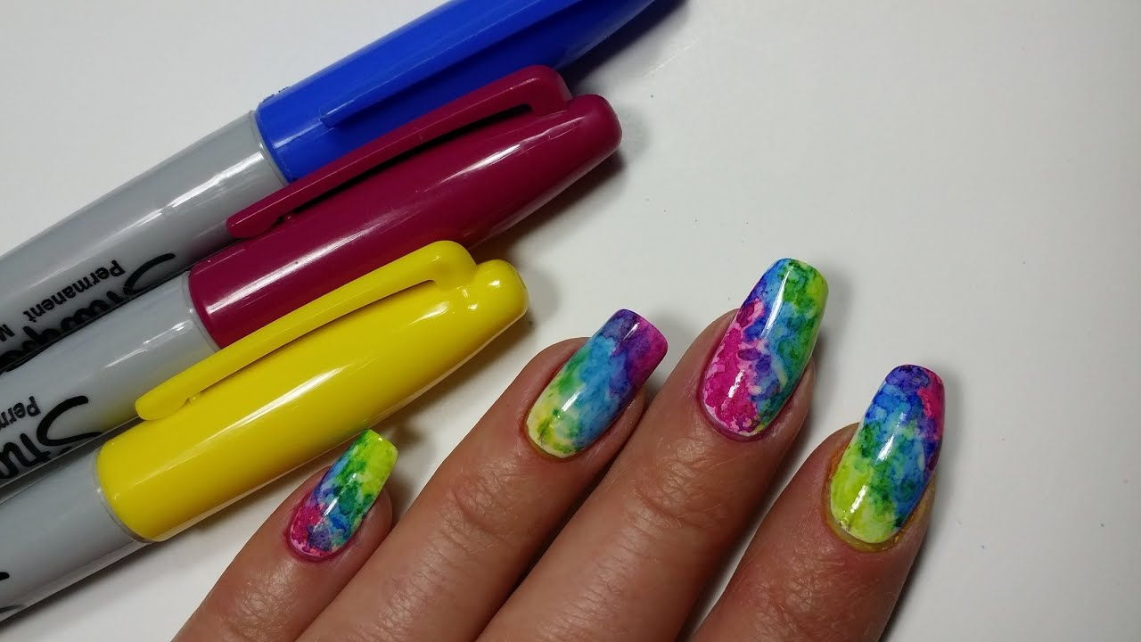 Sharpie nail art rainbow colors manicure design youtube prinsesfo Gallery