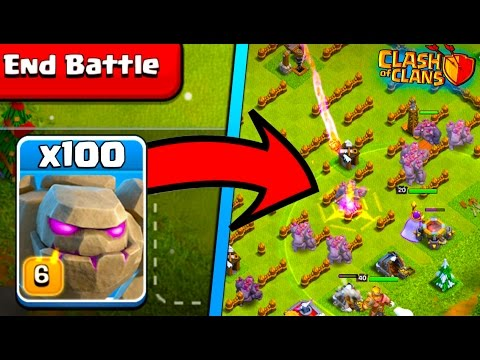 100 GOLEMS IN! NEW CLASH OF CLANS GOLEM EVENT!