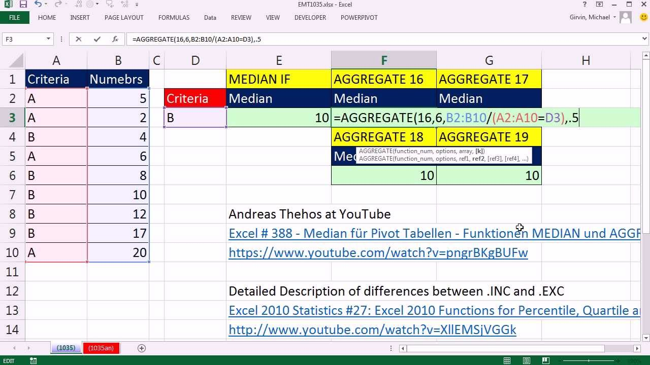 how to get excel to cacculate the median
