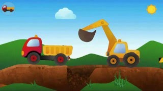 Excavator, truck, dozer - construction equipment, cartoon for children