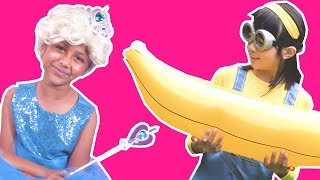 PRINCESS REVENGE ON MINIONS FOR RUINING THEIR TEA PARTY Princesses In Real Life Pranks Banana