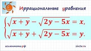 Система иррациональных уравнений #5