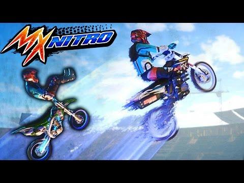 КРУТЫЕ МОТО ТРЮКИ прыжки Видео для детей про мотоциклы в игре MX Nitro выполняем бешеные трюки
