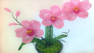 Орхидея из бисера своими руками мастер класс. DIY Orchid from beads own hands the master class
