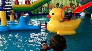 POTONG BEBEK ANGSA - Senangnya Qyla & Fais Bermain Air, Mainan Anak - Water Slide WaterPark Gofun