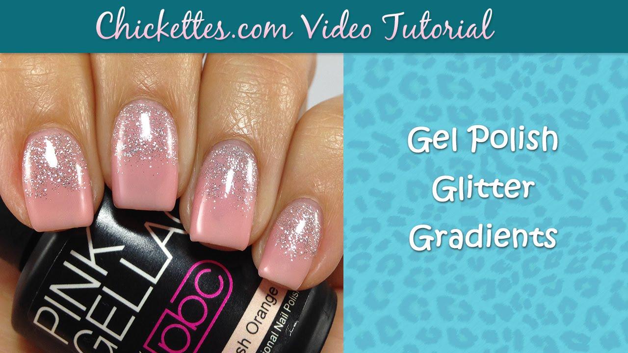 Gel Polish Glitter Gradient Manicure using Pink Gellac - YouTube