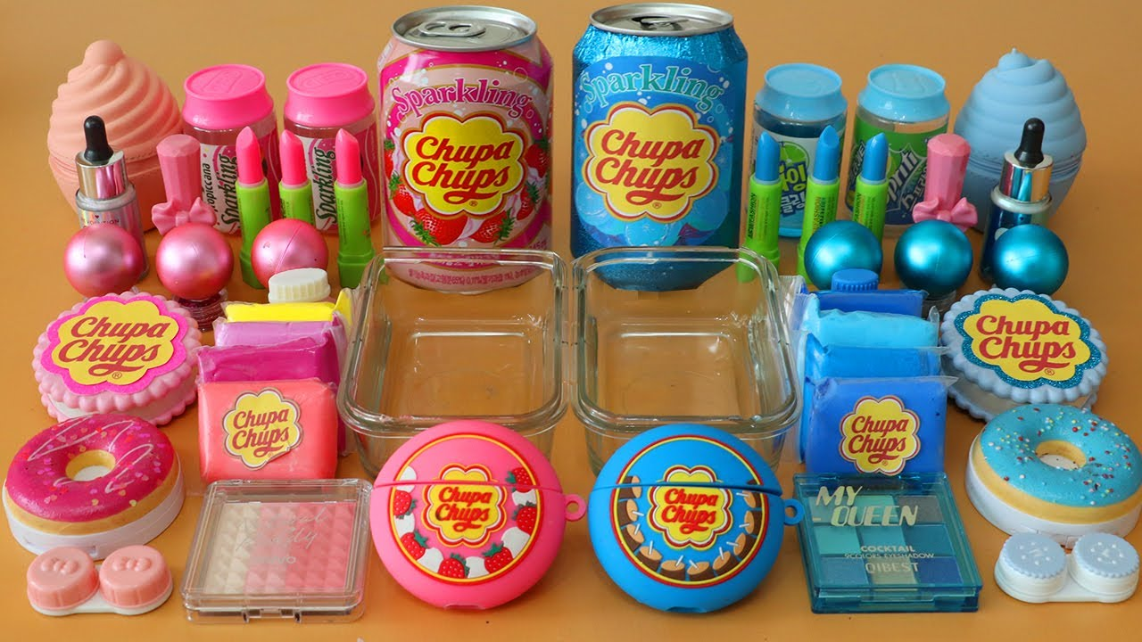 "Mixing""Blue ChupaChups VS Pink ChupaChups"" Makeup,parts Into Slime!Satisfying Slime Video!★ASMR★"