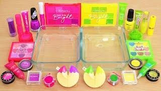 Pink Purple vs Green Yellow - Mixing Makeup Eyeshadow Into Slime ASMR