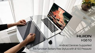 Huion HS610 Graphics Drawing Tablet Android Devices Supported Tilt Function Battery-Free Stylus