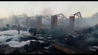 Пожар на складе с бочками в Тимашевске