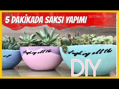 5 DAKİKADA DEKORATİF SAKSI YAPIMI/DIY/VERY EASY HOMEMADE FLOWER POTS