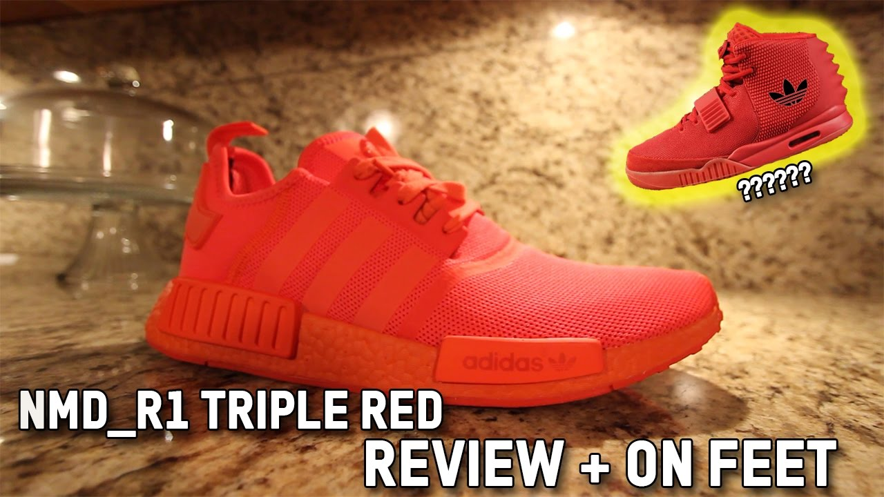 6346acd51ac09 ADIDAS NMD R1 SOLAR TRIPLE RED REVIEW + ON FEET - YouTube