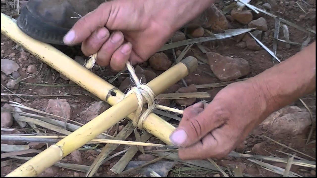 Cómo hacer un nudo para la elaboración de un zarzillo de caña - YouTube