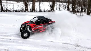 CanAm Maverick X3 Turbo Snow Drifting!