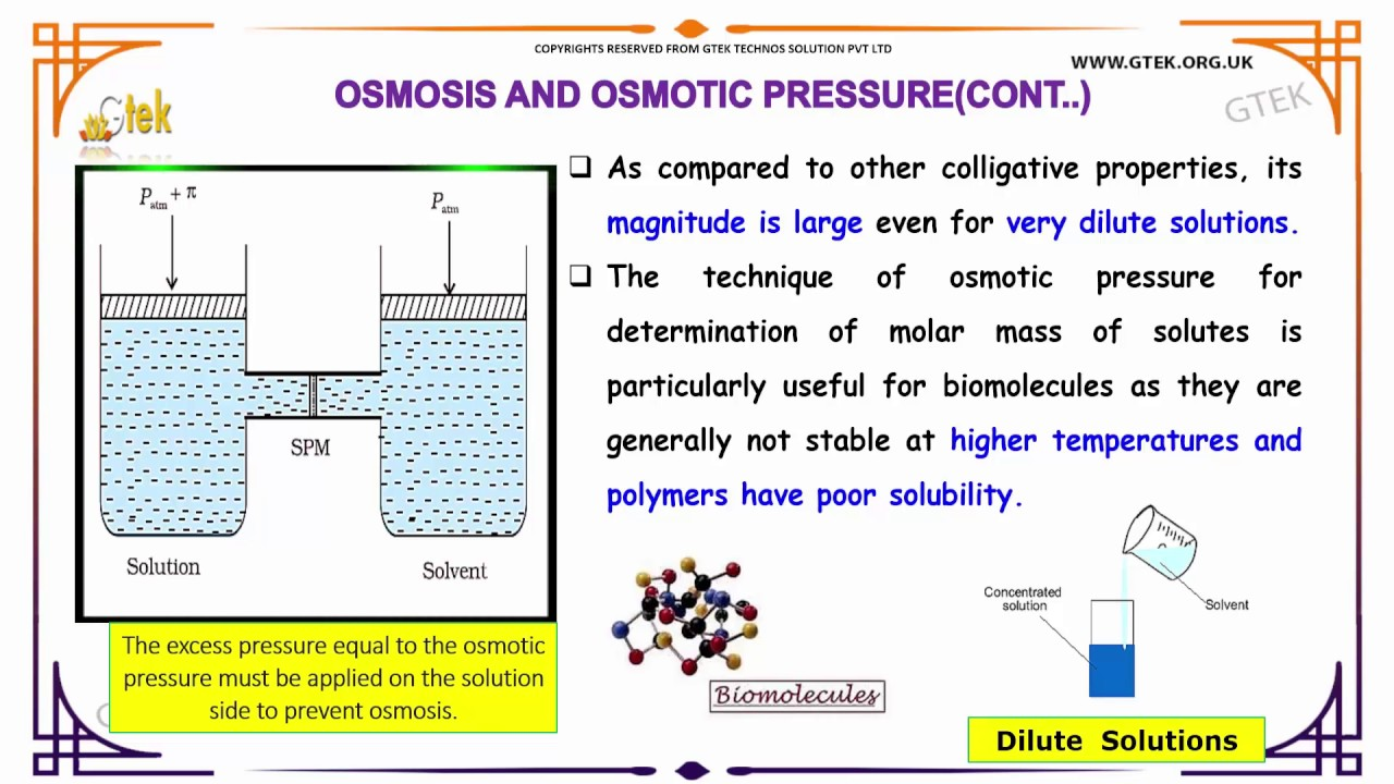 osmosis and osmotic pressure solutions solutions class 12 ...