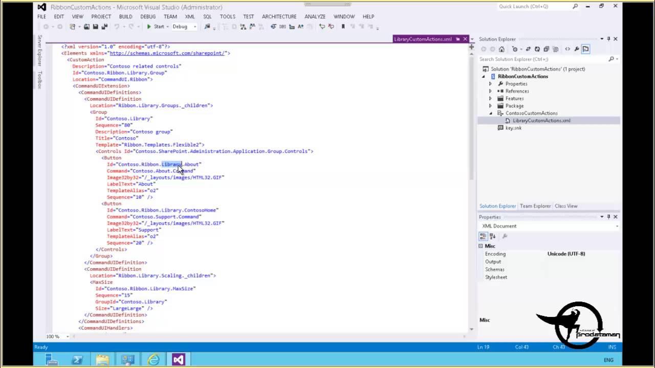 Customize the SharePoint 2013 Ribbon Visual Studio 2010 .Net - Video ...