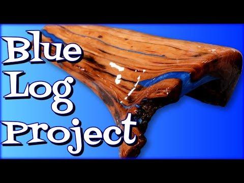 Epoxy Blue Log Project- Firewood Reclaimed 🔥