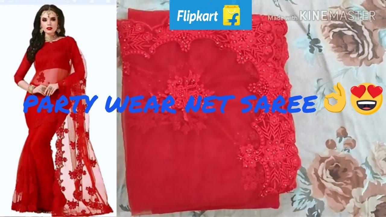 a00a49c8c6 Flipkart party wear saree unboxing & Review|Designer red net saree ...