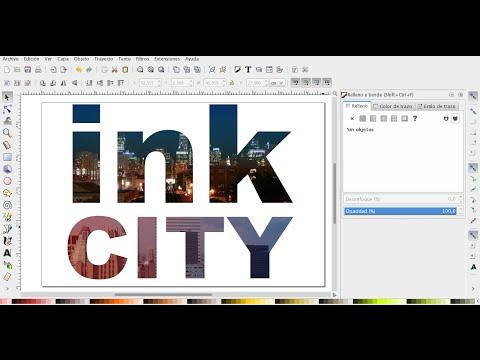 INKSCAPE 54 - Incrustar foto de una ciudad dentro de un texto.