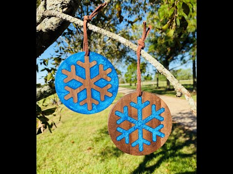 Using Walnut Scraps and Epoxy to Craft Snowflake Christmas Ornaments