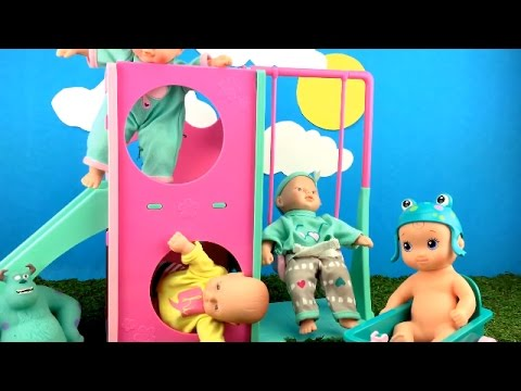 Thumbnail: Triplets Baby Dolls Playing in the Park on Playground with Swing and Slide