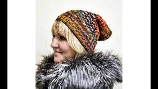 Модная шапка колпак с косами вязание крючком