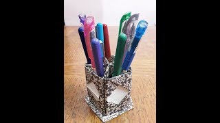 How to make a paper pentagon pen and pencil holder ll Paper craft