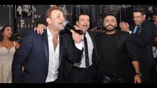تامر حسني يغني السود عيونه وعلى كيفك ميل فى حفل زفاف نجل محسن جابر