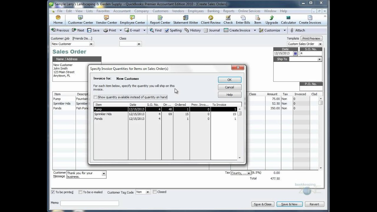 QuickBooks Training Videos: Create Invoice From Sales Order   YouTube  Invoice Sale