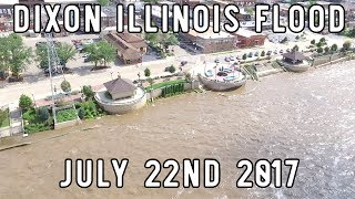 Dixon Illinois Flood Footage from July 22nd 2017 - Drone Footage