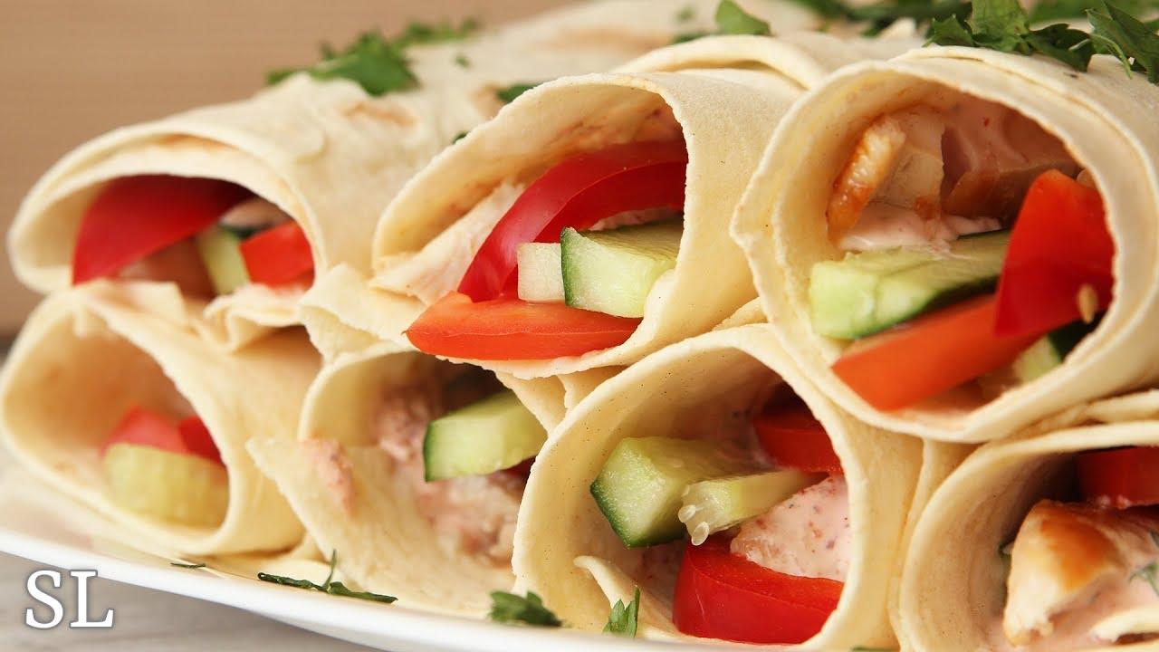 Полезная Закуска из Лаваша с Курицей и Овощами! Возьми с Собой на Пикник или Прогулку!