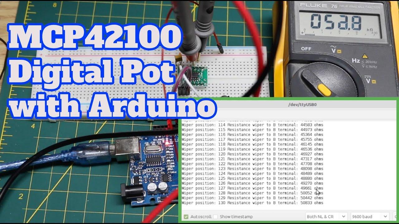 MCP42100 Digital Potentiometer with Arduino