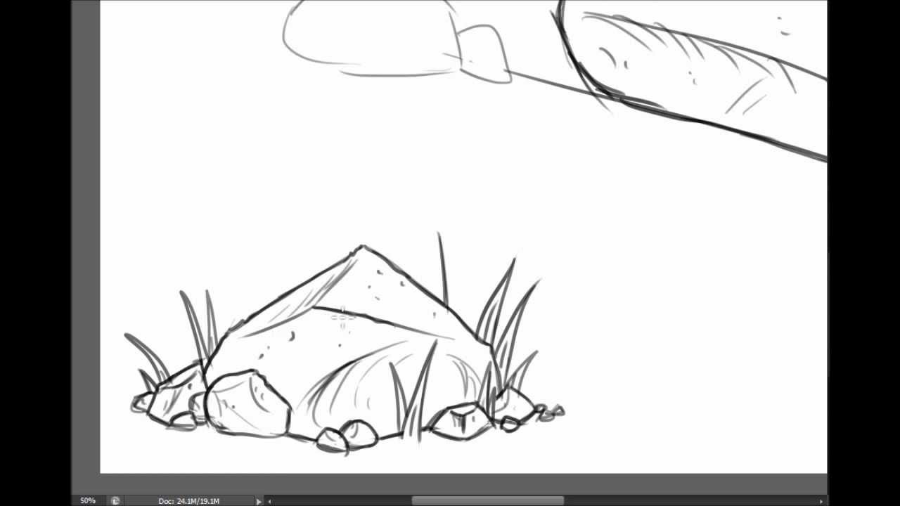 How to draw Rocks and Boulders - YouTube Drawing Of A Stone